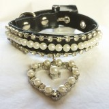 Beautiful Bling Black Collar with Heart Pendant and Crystals