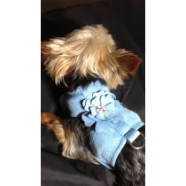 Sale PRICE !!! Waggywinks Pretty  Bling Flower Harness-Medium-Baby Blue