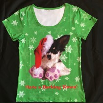 "Waggywinks Ladies Xmas T-Shirt  "" Have a Barking Xmas T-Shirt """