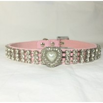 Beautiful Pink Bling Collar with Heart Pendant and Crystals