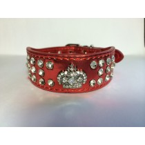 Metallic Bling Toy Dog Collars-Small-Red