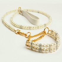 Bling Pearl Special Occasion Pet Collar and Lead Set